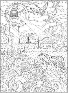 5 Pages Beachy Escape Coloring Digital Color Shells Ocean Surf
