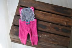 Pink Cable Knit Romper With Floral & Lace   by ToodleBugCreations, $29.00
