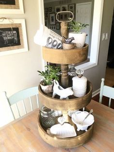 Rustic three tiered tray. Farmhouse kitchen decor. This would make a great display prop for a craft fair