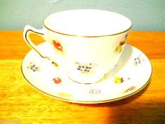 Crown Staffordshire Rose Pansy Flower Gold Trim Footed Cup Saucer Set  #staffordshire