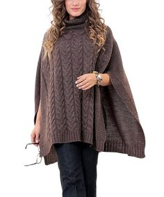 Another great find on #zulily! Brown Turtleneck Poncho - Plus by Zaira #zulilyfinds