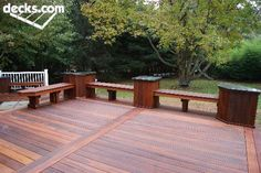 Ipe benches with granite Nj Deck builder Deck Remodelers.com