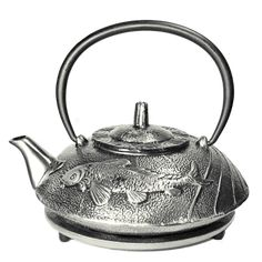 This classic teapot is made from sturdy cast iron and has anenamel coating on the interior to prevent rusting. It also comes with a removable stainless steel mesh tea filter. The body is cast with a K
