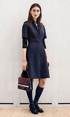 Tory Burch PREFALL 2014 — Look 10: Rimona Dress, Lacey Sweater, Claridge Chevron Shoulder Bag, Trudy Sandal