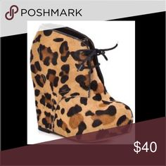 *SALE!* Steve Madden Leopard Bootie Wedges Cute fur leopard booties. Size 9.5 Steve Madden. Steve Madden Shoes Ankle Boots & Booties