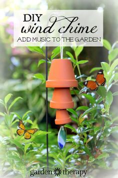 A terra cotta wind chime is not just a visually pleasing decoration to have in your garden, but also a musical tool that fills the air with delightful sounds. This simple-to-make wind chime requires just a few materials but creates a large impact in the garden. #garden #sponsored #windchime