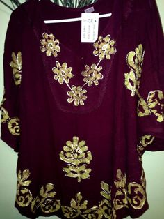 Women Kaftan Tunic Top Kurti Rayon Floral Embroidered Sz L XL | eBay