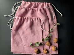 Zero waste reusable produce bags in light pink, linen drawstring bag for groceries, nuts beans fruit and vegetables, vegan food gift bags - Eco-Friendly Travel: An A to Z Guide to Save Planet Produce Bags, Food Gifts, Zero Waste, Linen Fabric, Cotton Linen, Gift Bags, Etsy, At Least, Fruit Box