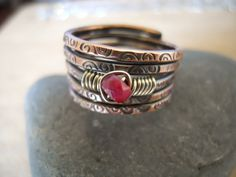 Ruby Ring  Wire Wrapped in Sterling Silver on Stamped Oxidized Copper An Urban Industrial Size 7.25