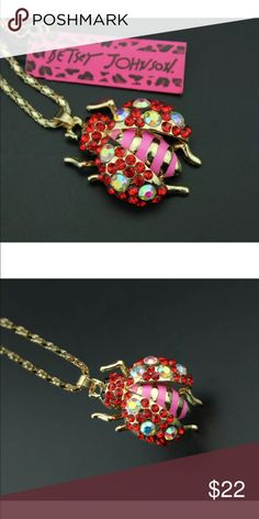 Betsey Johnson Ladybug Crystal necklace NWT Next day shipping. New with tags Betsey Johnson Jewelry Necklaces