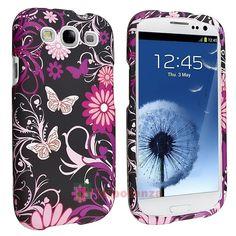 Rosa Farfalla  Case Custodia Cover Per Samsung Galaxy S3 S III Phone