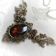 ENIGMA in BRASS, Neo-Victorian gothic wedding necklace with Swarovski crystal, free gift boxing