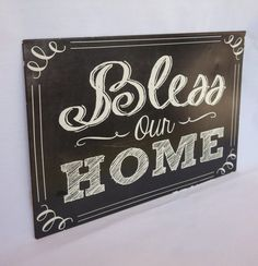 Metal Signage Bless Our Home Distressed Wall by Thepinkpicketfence $16.00