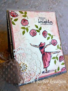 Karen Barber: A Stamper's Diary - CC617 ~~BRIGHTER DAYS - Splitcoaststampers - 1/9/17.  (SU: Occ2017 - Beautiful You (dancer), Falling for You (flowers), So in Love (leave); Annual-First Sight (vine).  (Pin#1: Stampin'Up.  Pin+: Doilies; Feminine).