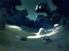 Kuindzhi Moonlight spots in a forest Winter Пятна лунного света в лесу. Зима1898—1908Бумага на холсте, масло39 × 53,5Государственный Русский музей