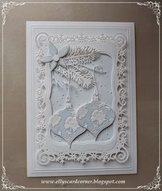 Elly's Card- Corner, Christma card with ornaments