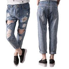 32.90$  Watch now - http://aligjt.shopchina.info/go.php?t=32802613525 - Aliexpress monikubu women's fashion casual brand big plus size clothing denim hole ripped jeans pants trousers for female  #magazineonlinebeautiful