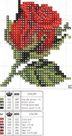 Rose cross stitch pattern and color chart. Cross Stitch Charts, Cross Stitch Designs, Cross Stitch Patterns, Cross Stitching, Cross Stitch Embroidery, Embroidery Patterns, Cross Stitch Flowers, Plastic Canvas Patterns, Loom Beading