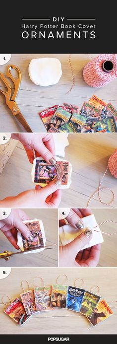 Instead of picking just ONE Harry Potter book to represent your love of the series, make a complete seven-book set of adorable Potter-inspired DIY cover ornaments that will make your tree look magical.