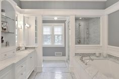 Bathroom a few ideas, master bathroom remodel, master bathroom decor and master bathroom organization! Master Bathrooms can be beautiful too! From claw-foot tubs to shiny fixtures, these are the master bathroom that inspire me the most. Bathroom Spa, Bathroom Renos, Bathroom Renovations, Bathroom Cabinets, Cupboards, Bathroom Vanities, Restroom Cabinets, Bathroom Interior, Bathroom Cart