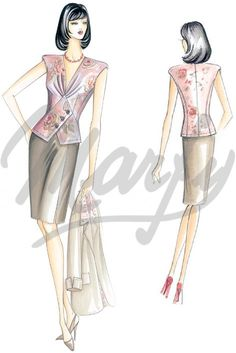 Mt 1 10 alt 1 40 Available in sizes 42 to 58 This top has a vest effect and is… Marfy Patterns, Dress Patterns, Sewing Patterns, Fashion Art, Fashion Outfits, Womens Fashion, Red Corset, Sewing Shirts, Illustration Mode