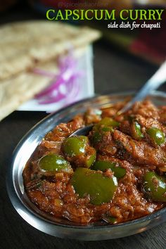 Capsicum Recipes, Veg Recipes, Curry Recipes, Vegetarian Recipes, Cooking Recipes, Cooking Videos, Curry Side Dishes, Side Dishes Easy, Sauces
