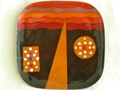 Large Square Enamel Plate by MIGUEL PINEDA