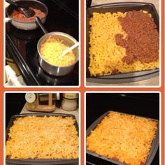 Easy lasagna  Ingredients: 2 boxes Mac and cheese and 2lbs ground meat. 1 jar of spaghetti sauce & Shredded cheese.  Cook meat and mix in spaghetti sauce. Cook macaroni. Layer macaroni and meat. Sprinkle with cheese. Bake for 20 minutes at 375.  Serve!! Super easy! (you can cut this recipe in half but I like to make extra for leftovers) Beef Dishes, Tasty Dishes, Boxed Mac And Cheese, Lasagna Ingredients, Ground Meat Recipes, Good Food, Yummy Food, Food Picks, Cooking Recipes