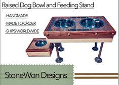 Raised dog bowl feeding stand/ elevated pet feeder/modern dog