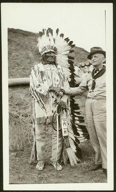 White Bull (Hunkpapa), Jacob Horner (formerly with K Co., 7th Cav. Reg.) - 1936 {Note: Both of these men fought on opposing sides during the Battle at the Little Bighorn River on 25 June 1876.}