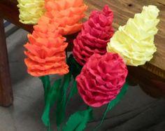 Conjunto de flores de papel de 6 púrpura y lavanda