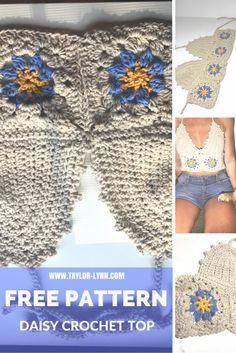 Ideas Crochet Tutorial Bikini Free Pattern For 2019 Crochet Bikini Pattern, Crochet Crop Top, Crochet Patterns, Swimsuit Pattern, Halter Tops, Crochet Daisy, Free Crochet, Crochet Summer, Different Crochet Stitches