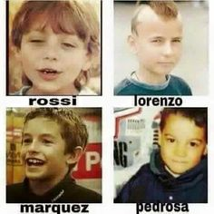 Young Rossi, Pedrosa, Lorenzo and Marquez Motogp Valentino Rossi, Valentino Rossi 46, Marc Marquez, Motogp Valencia, Nicky Hayden, Bike Photography, Young Celebrities, Honda Cb750, Vinales