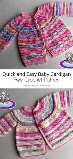 Quick and Easy Baby Cardigan Crochet Baby Cardigan Free Pattern, Crochet Baby Jacket, Baby Sweater Patterns, Baby Girl Crochet, Crochet Baby Clothes, Baby Patterns, Free Crochet, Crochet Patterns, Knitted Baby Cardigan