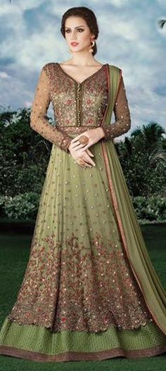 480240 Green  color family Anarkali Suits in Net fabric with Lace, Machine Embroidery, Stone, Thread, Zari work .