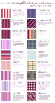 The Ultimate Pattern Fashion Vocabulary - Part 2 ~ Stripes & Checks For Part 1, click here. More Visual Glossaries (for Him):Backpacks ...