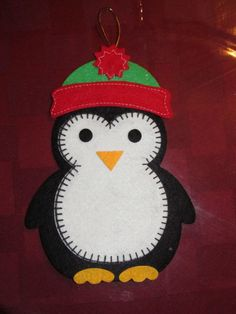 penguin felt ornament--use construction paper--fleece for hat w/puff