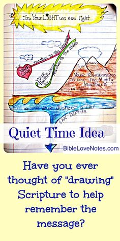 "Here's a practical idea for ""hiding God's Word in our hearts"" -- drawing passages so we remember the message better. You don't need to be an artist, but they help you retain the truths of Scripture. Scripture Study, Bible Verses, Bible Art, Scriptures, Family Worship Night, Bible Love, Thing 1, Bible Lessons, Word Of God"