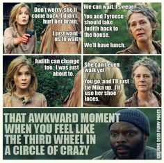 I Don't Know If Awkward Is How I'd Describe This Moment - The Walking Dead Memes that live on after the characters and season ended. Memes are the REAL zombies of the show. Carl The Walking Dead, Walking Dead Funny, Walking Dead Zombies, Twd Memes, Just She, Dead Inside, Daryl Dixon, Best Shows Ever, Favorite Tv Shows