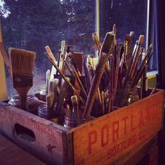 Brushes - cool storage idea too