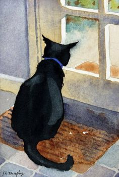 Lex Looking Out, Giclee Print of Watercolor By Susan Avis Murphy, Showing a Black Cat Looking Out the Door by Susan Avis Murphy. $20.00. The image size of the print is 7 x 9 inches with a 2 inch white border, and will fit perfectly into a 11 x 14 inch standard size mat and frame. Colors in this painting are easily matched to contemporary decors; detail and color are outstanding. This is our big black cat, Lex, looking excited about something ourside the door! There is a comp...