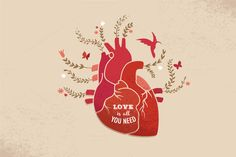 Check out Love background with heart & flowers by Marish on Creative Market