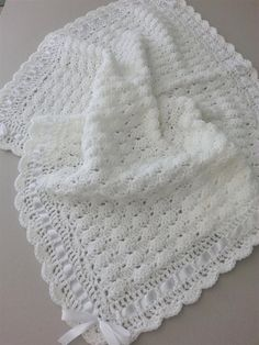 Your place to buy and sell all things handmade : Crochet Baby Blanket Christening Afghan, Handmade Crochet White Ivory Blanket, Satin Ribbon Baby Shower Gift, Newborn Baby Girl Baby Boy Crochet Bebe, Crochet For Boys, Free Crochet, Boy Crochet, Crochet Afghans, Crochet Baby Blanket Free Pattern, Crochet Baby Shawl, Crochet Baby Clothes, Baby Girl Blankets
