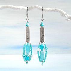 Long Silver Earrings, Boho Earrings, Drop Earrings, Handmade Jewelry Designs, Whimsical, Studios, Turquoise, Ceramics, Sterling Silver
