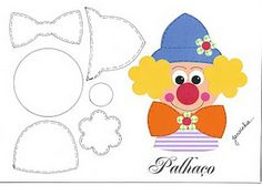 Nany Arts: Zagrożenia i szablony Clown Crafts, Circus Crafts, Carnival Crafts, Felt Patterns, Applique Patterns, Stuffed Toys Patterns, Foam Crafts, Paper Crafts, Puzzle Photo