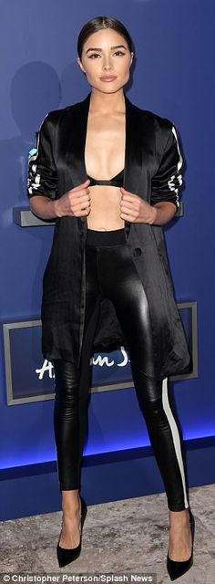 Toned:Her toned tummy was flaunted on center stage with the tight leggings barely stopping...