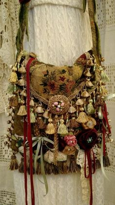 Handmade Vintage Fabric CrossBody Carpet Bag Gypsy Hippie Victorian Purse tmyers