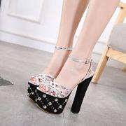 Rivet Platform High Chunky Heel Sandals