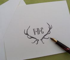 Personalized Monogrammed Antlers Stag, Elk Deer Note Cards Vintage Inspired Stationery Woodland Forest Lodge Mountain Ivory Set of 10 Rustic...