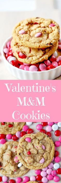 Valentine's Day dessert for two: a small batch of M&M cookies with festive colored M&Ms. Your sweetie will love them! Recipe makes just 1 DOZEN cookies!